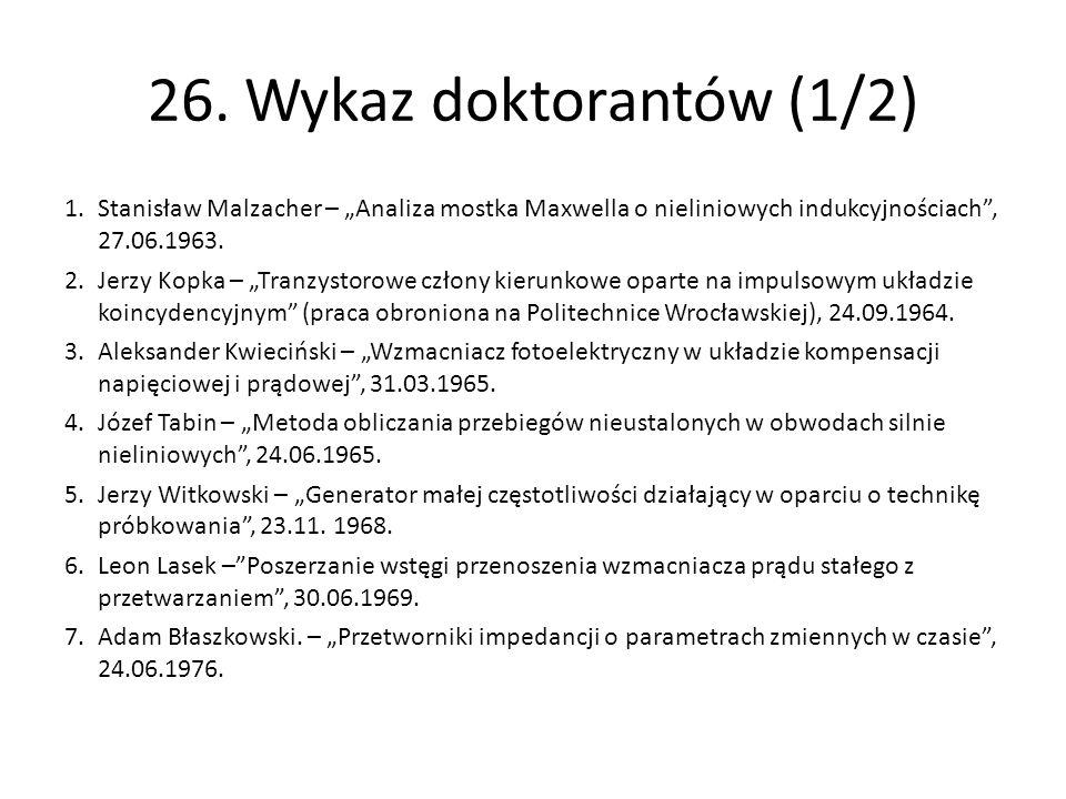 """26. Wykaz doktorantów (1/2) 1.Stanisław Malzacher – """"Analiza mostka Maxwella o nieliniowych indukcyjnościach"""", 27.06.1963. 2.Jerzy Kopka – """"Tranzystor"""