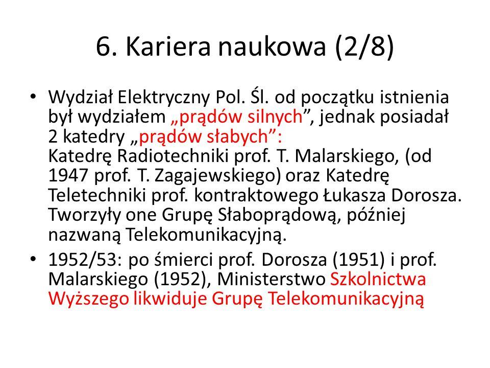 """6. Kariera naukowa (2/8) Wydział Elektryczny Pol. Śl. od początku istnienia był wydziałem """"prądów silnych"""", jednak posiadał 2 katedry """"prądów słabych"""""""