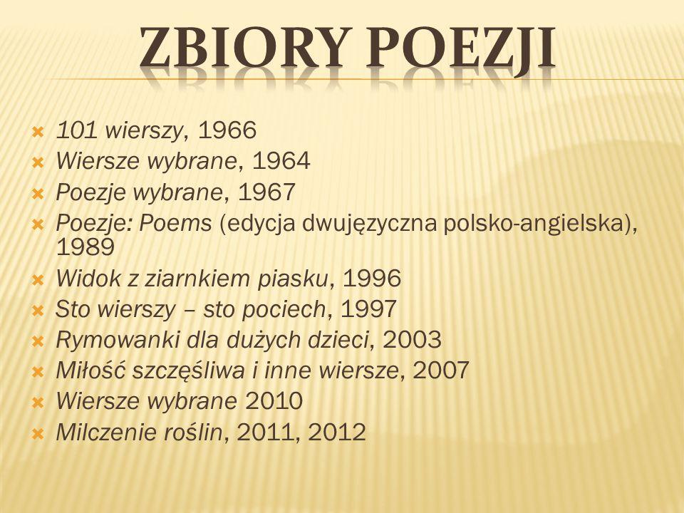  101 wierszy, 1966  Wiersze wybrane, 1964  Poezje wybrane, 1967  Poezje: Poems (edycja dwujęzyczna polsko-angielska), 1989  Widok z ziarnkiem pia