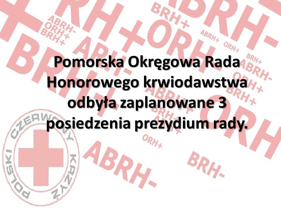 Pomorska Okręgowa Rada Honorowego krwiodawstwa odbyła zaplanowane 3 posiedzenia prezydium rady.