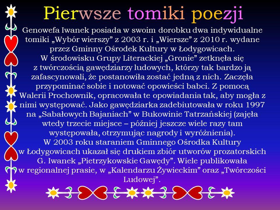 Twórczość Najczęściej podkreślanym atutem twórczości literackiej Genowefy Iwanek jest przede wszystkim proza pisana gwarą, do której autorka czerpie t