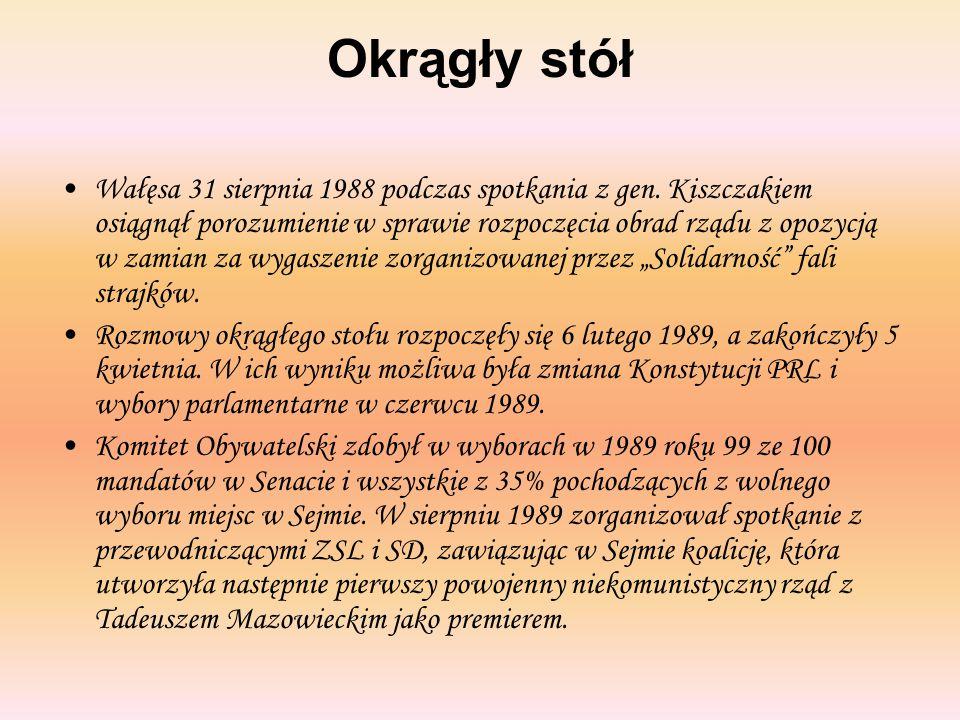 Okrągły stół Wałęsa 31 sierpnia 1988 podczas spotkania z gen. Kiszczakiem osiągnął porozumienie w sprawie rozpoczęcia obrad rządu z opozycją w zamian
