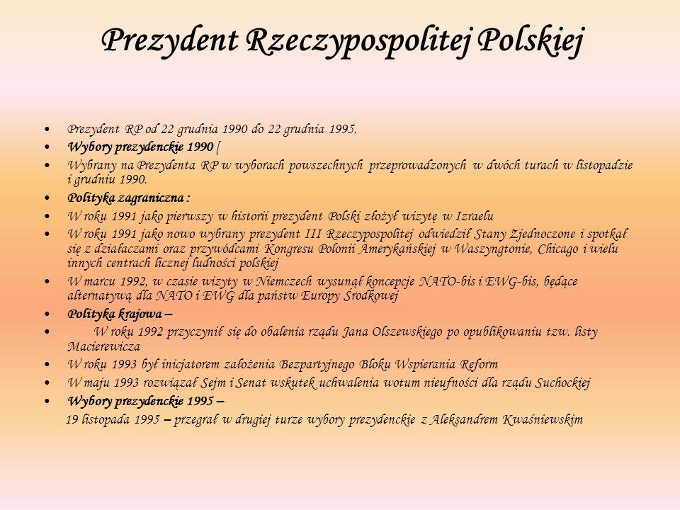 Prezydent Rzeczypospolitej Polskiej Prezydent RP od 22 grudnia 1990 do 22 grudnia 1995. Wybory prezydenckie 1990 [ Wybrany na Prezydenta RP w wyborach