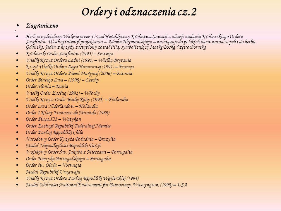Ordery i odznaczenia cz.2 Zagraniczne Herb przydzielony Wałęsie przez Urząd Heraldyczny Królestwa Szwecji z okazji nadania Królewskiego Orderu Serafin