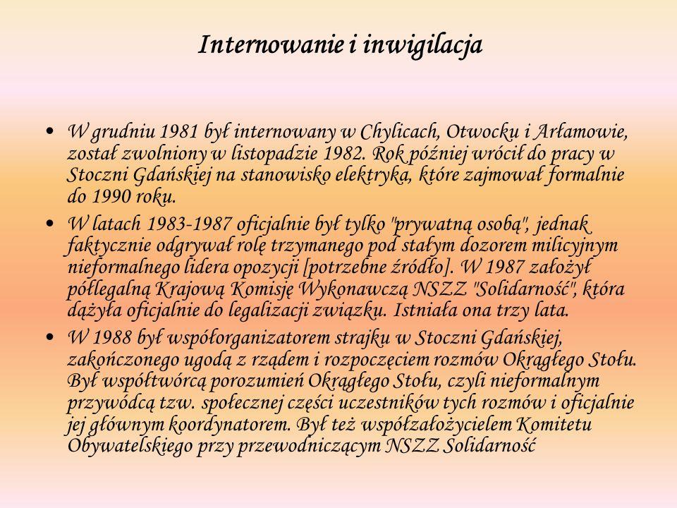 Internowanie i inwigilacja W grudniu 1981 był internowany w Chylicach, Otwocku i Arłamowie, został zwolniony w listopadzie 1982.