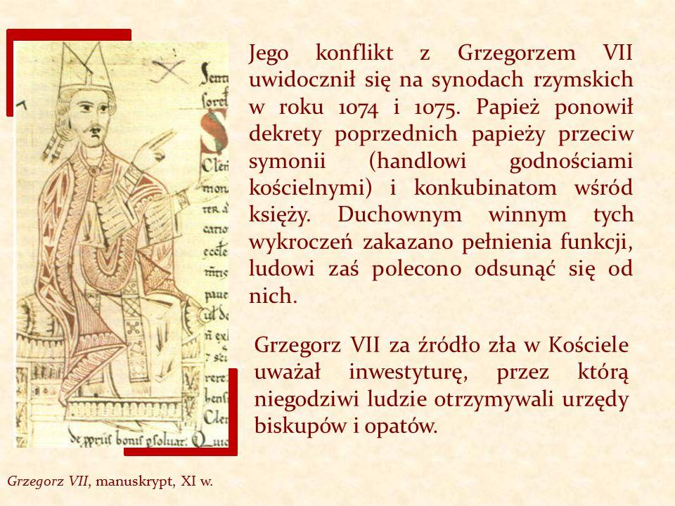 Jego konflikt z Grzegorzem VII uwidocznił się na synodach rzymskich w roku 1074 i 1075. Papież ponowił dekrety poprzednich papieży przeciw symonii (ha