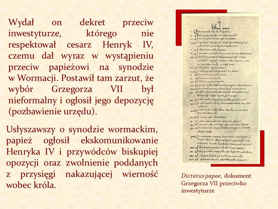 Wydał on dekret przeciw inwestyturze, którego nie respektował cesarz Henryk IV, czemu dał wyraz w wystąpieniu przeciw papieżowi na synodzie w Wormacji