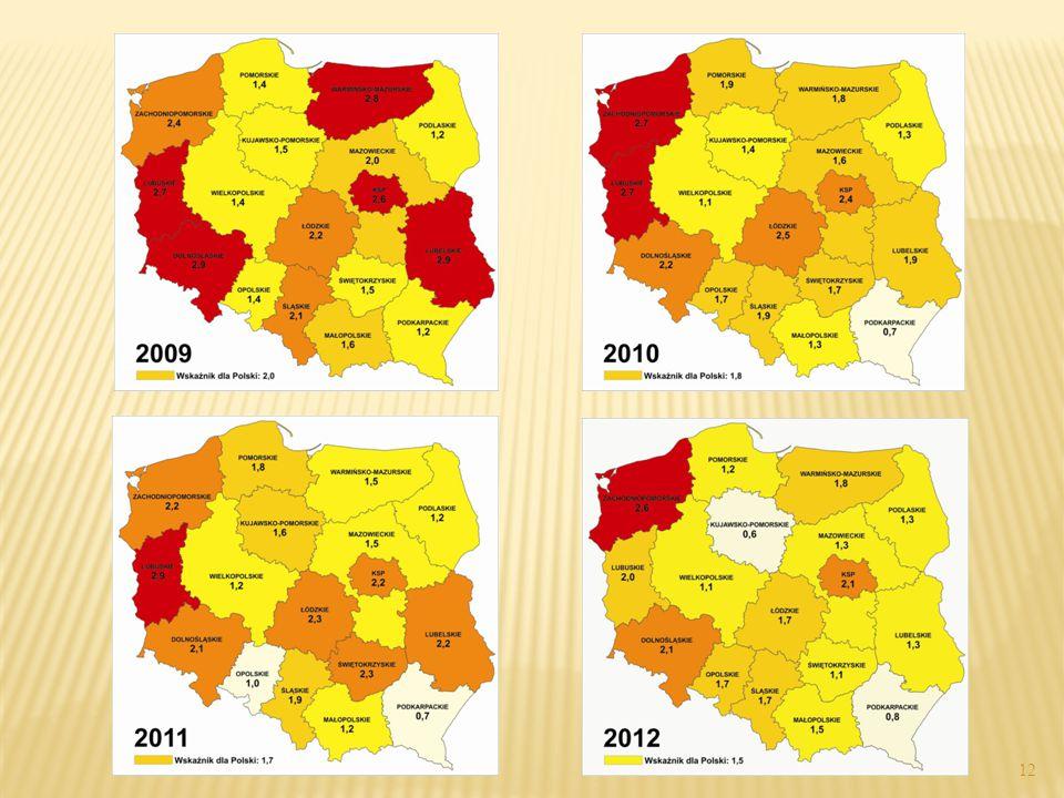 """ Sprawcy popełnionych w Polsce w 2012 roku zabójstw (w tym usiłowania) kierowali się następującymi motywami:  200 — motyw """"inny"""", np. chuligański, z"""