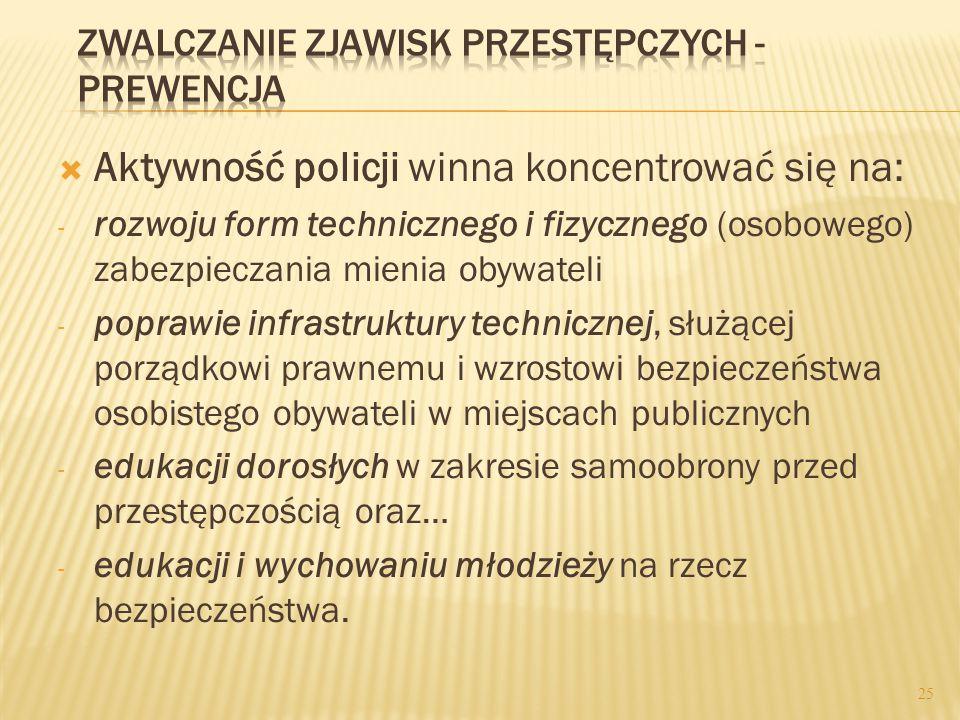  Polską policję tworzą generalnie nast. piony: - służba prewencji (zapobieganie) - służba kryminalna (wykrywczość) - logistyka (zasilanie finansowo-m