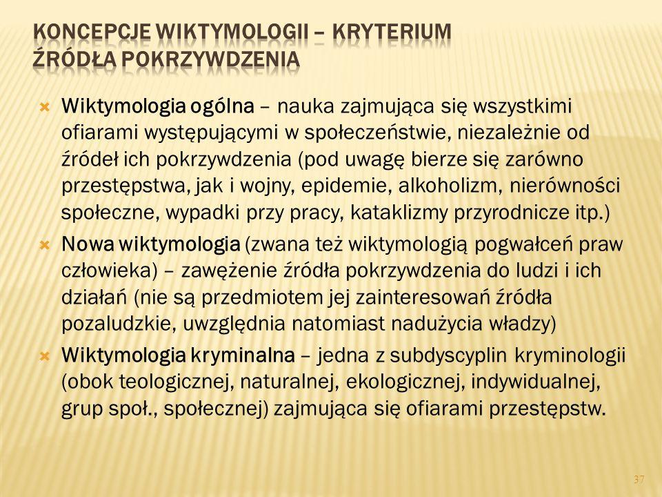 36  Wiktymologia (z łac. victima – ofiara, z gr. logos – nauka) - Hans von Hentig (Uwagi na temat interakcji między sprawcą a ofiarą, 1941 r.; Przest
