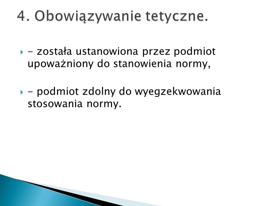  - została ustanowiona przez podmiot upoważniony do stanowienia normy,  - podmiot zdolny do wyegzekwowania stosowania normy.