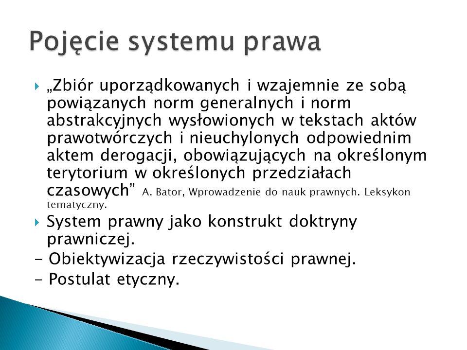 """ """"Zbiór uporządkowanych i wzajemnie ze sobą powiązanych norm generalnych i norm abstrakcyjnych wysłowionych w tekstach aktów prawotwórczych i nieuchylonych odpowiednim aktem derogacji, obowiązujących na określonym terytorium w określonych przedziałach czasowych A."""