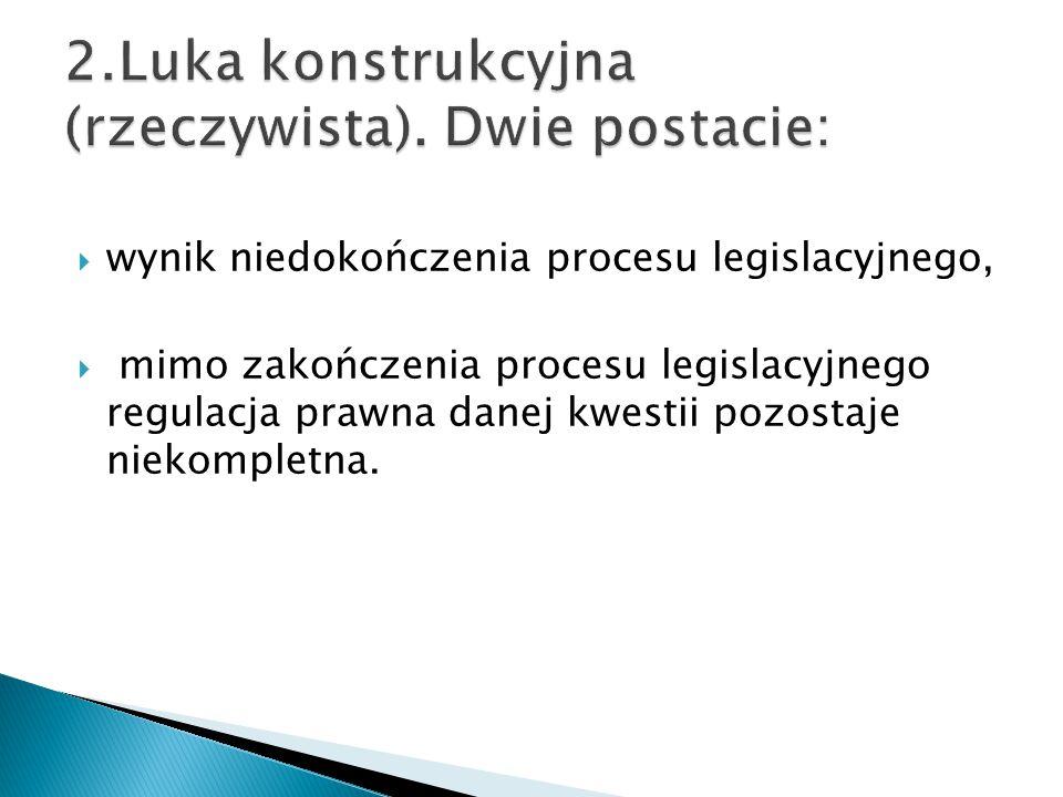  wynik niedokończenia procesu legislacyjnego,  mimo zakończenia procesu legislacyjnego regulacja prawna danej kwestii pozostaje niekompletna.