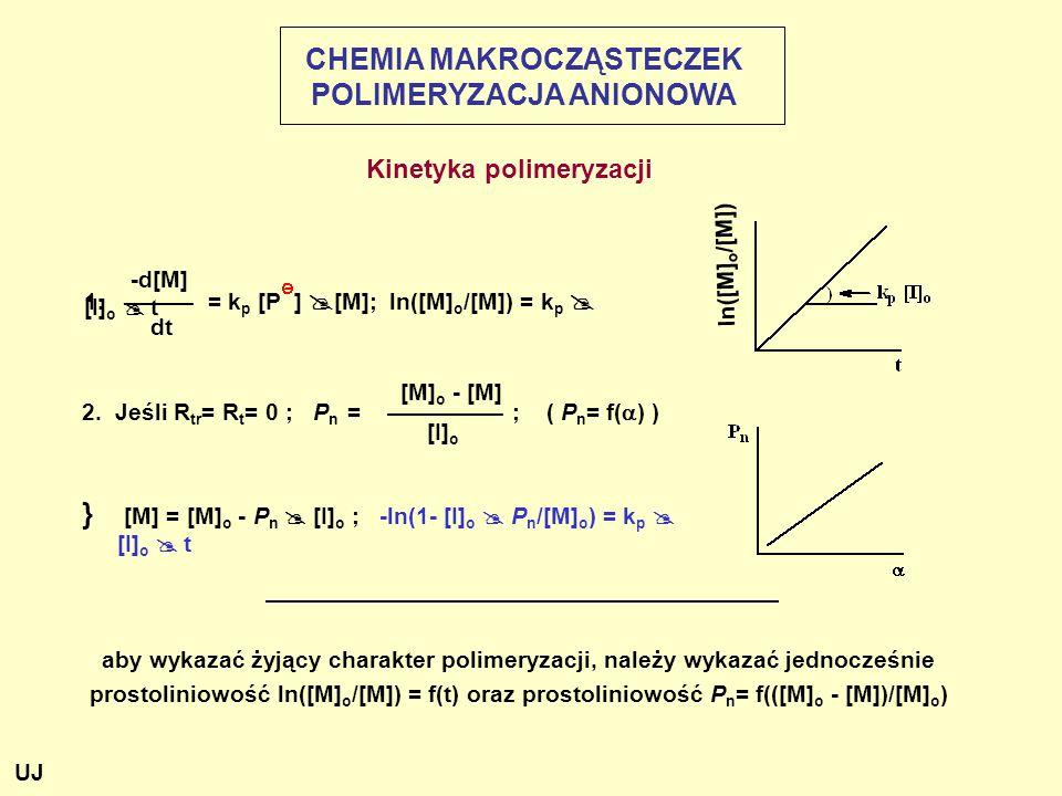 -d[M] 1.——— = k p [P ]  [M]; ln([M] o /[M]) = k p  [I] o  t dt [M] o - [M] 2.