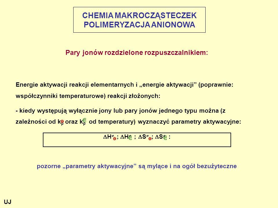 """CHEMIA MAKROCZĄSTECZEK POLIMERYZACJA ANIONOWA Pary jonów rozdzielone rozpuszczalnikiem: Energie aktywacji reakcji elementarnych i """"energie aktywacji (poprawnie: współczynniki temperaturowe) reakcji złożonych: - kiedy występują wyłącznie jony lub pary jonów jednego typu można (z zależności od k p oraz k p od temperatury) wyznaczyć parametry aktywacyjne:  H  ;  H  ;  S  ;  S  : pozorne """"parametry aktywacyjne są mylące i na ogół bezużyteczne UJ"""