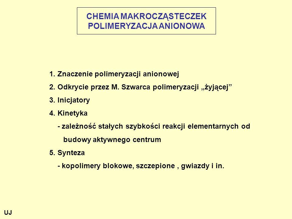 CHEMIA MAKROCZĄSTECZEK POLIMERYZACJA ANIONOWA 1.Znaczenie polimeryzacji anionowej 2.