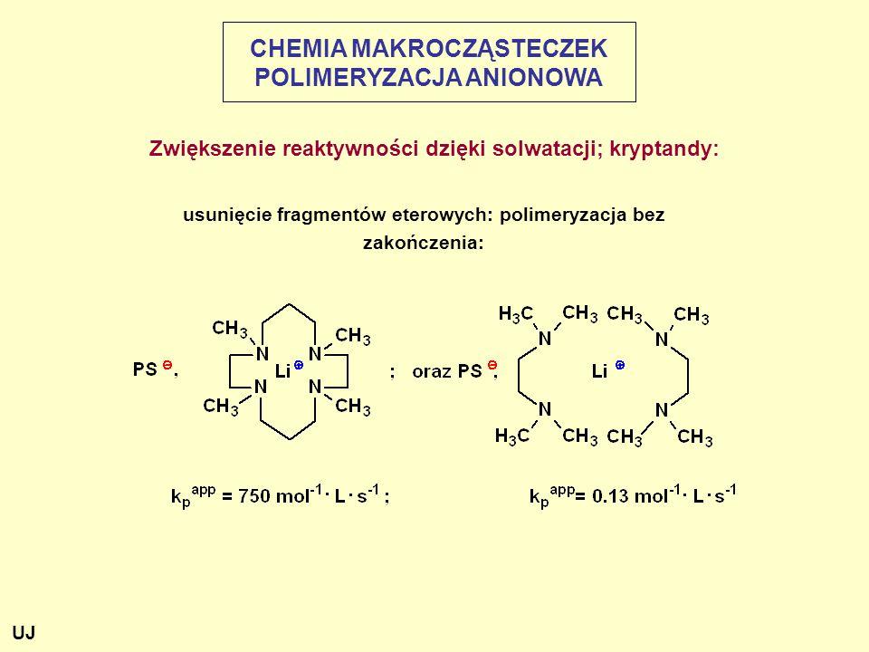 usunięcie fragmentów eterowych: polimeryzacja bez zakończenia: CHEMIA MAKROCZĄSTECZEK POLIMERYZACJA ANIONOWA Zwiększenie reaktywności dzięki solwatacji; kryptandy: UJ