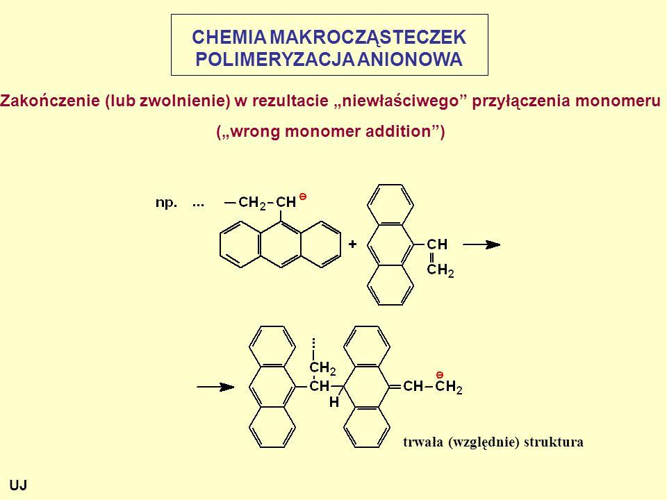 """Zakończenie (lub zwolnienie) w rezultacie """"niewłaściwego przyłączenia monomeru (""""wrong monomer addition ) CHEMIA MAKROCZĄSTECZEK POLIMERYZACJA ANIONOWA trwała (względnie) struktura UJ"""
