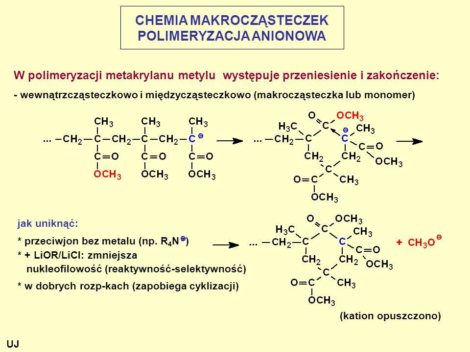 W polimeryzacji metakrylanu metylu występuje przeniesienie i zakończenie: - wewnątrzcząsteczkowo i międzycząsteczkowo (makrocząsteczka lub monomer) jak uniknąć: * przeciwjon bez metalu (np.