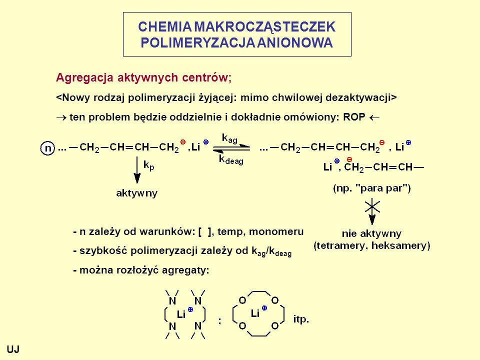 Agregacja aktywnych centrów;  ten problem będzie oddzielnie i dokładnie omówiony: ROP  - n zależy od warunków: [ ], temp, monomeru - szybkość polimeryzacji zależy od k ag /k deag - można rozłożyć agregaty: CHEMIA MAKROCZĄSTECZEK POLIMERYZACJA ANIONOWA UJ
