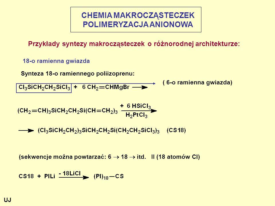 Przykłady syntezy makrocząsteczek o różnorodnej architekturze: 18-o ramienna gwiazda Synteza 18-o ramiennego poliizoprenu: ( 6-o ramienna gwiazda) (sekwencje można powtarzać: 6  18  itd.