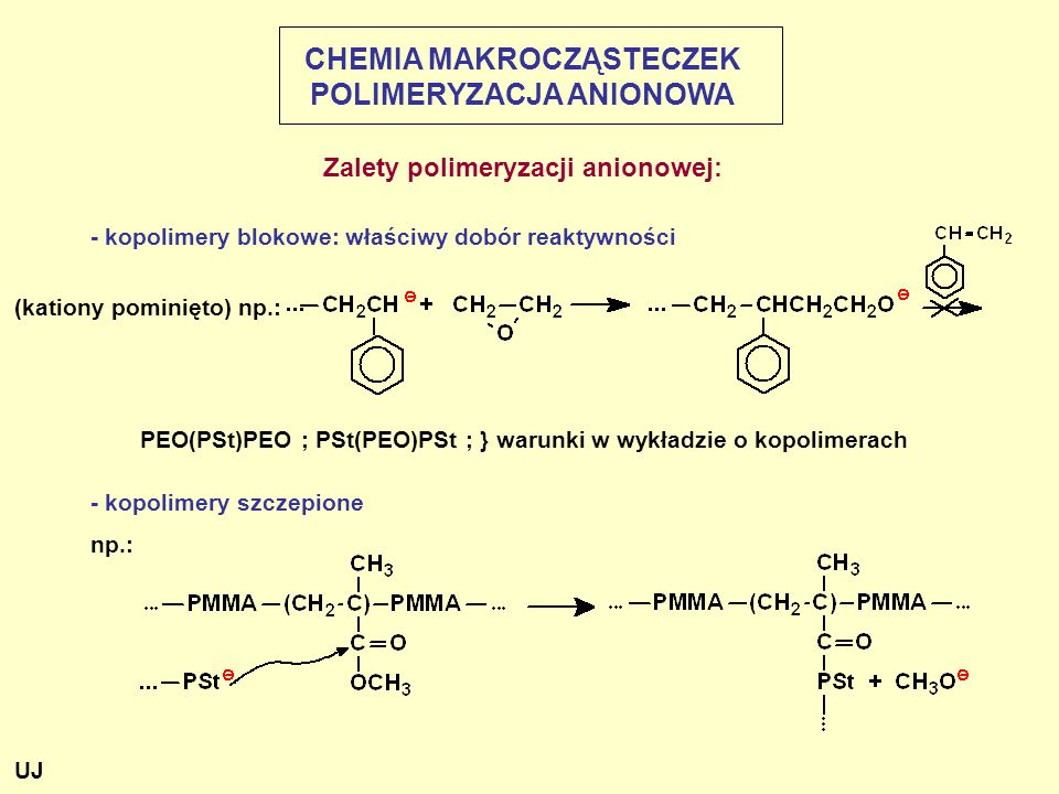 - kopolimery blokowe: właściwy dobór reaktywności - kopolimery szczepione np.: (kationy pominięto) np.: PEO(PSt)PEO ; PSt(PEO)PSt ; } warunki w wykładzie o kopolimerach CHEMIA MAKROCZĄSTECZEK POLIMERYZACJA ANIONOWA Zalety polimeryzacji anionowej: UJ