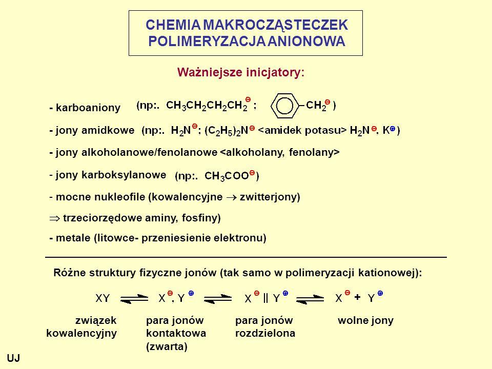 Różne struktury fizyczne jonów (tak samo w polimeryzacji kationowej): - karboaniony - jony amidkowe - jony alkoholanowe/fenolanowe - jony karboksylanowe - mocne nukleofile (kowalencyjne  zwitterjony)  trzeciorzędowe aminy, fosfiny) - metale (litowce- przeniesienie elektronu) związek kowalencyjny para jonów kontaktowa (zwarta) para jonów rozdzielona wolne jony CHEMIA MAKROCZĄSTECZEK POLIMERYZACJA ANIONOWA Ważniejsze inicjatory: UJ