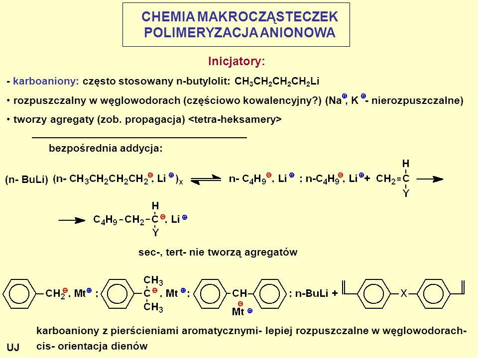 Inicjatory: - karboaniony: często stosowany n-butylolit: CH 3 CH 2 CH 2 CH 2 Li rozpuszczalny w węglowodorach (częściowo kowalencyjny?) (Na, K - nierozpuszczalne) tworzy agregaty (zob.