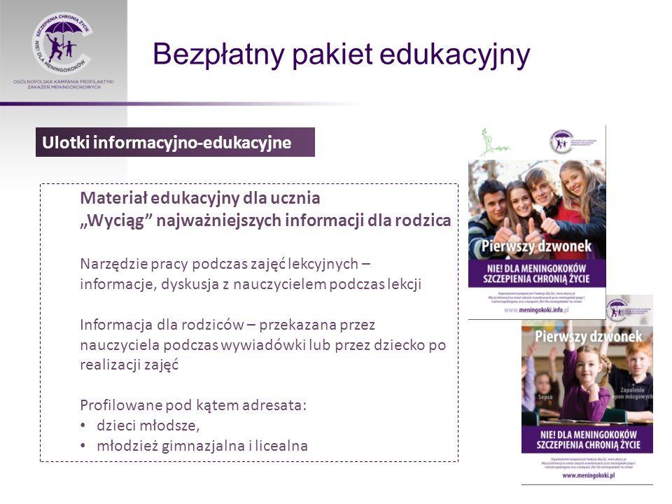 """Bezpłatny pakiet edukacyjny Materiał edukacyjny dla ucznia """"Wyciąg najważniejszych informacji dla rodzica Narzędzie pracy podczas zajęć lekcyjnych – informacje, dyskusja z nauczycielem podczas lekcji Informacja dla rodziców – przekazana przez nauczyciela podczas wywiadówki lub przez dziecko po realizacji zajęć Profilowane pod kątem adresata: dzieci młodsze, młodzież gimnazjalna i licealna Ulotki informacyjno-edukacyjne"""