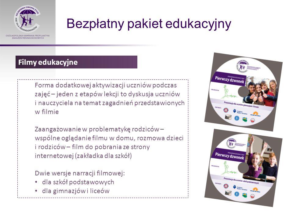 Bezpłatny pakiet edukacyjny Forma dodatkowej aktywizacji uczniów podczas zajęć – jeden z etapów lekcji to dyskusja uczniów i nauczyciela na temat zagadnień przedstawionych w filmie Zaangażowanie w problematykę rodziców – wspólne oglądanie filmu w domu, rozmowa dzieci i rodziców – film do pobrania ze strony internetowej (zakładka dla szkół) Dwie wersje narracji filmowej: dla szkół podstawowych dla gimnazjów i liceów Filmy edukacyjne