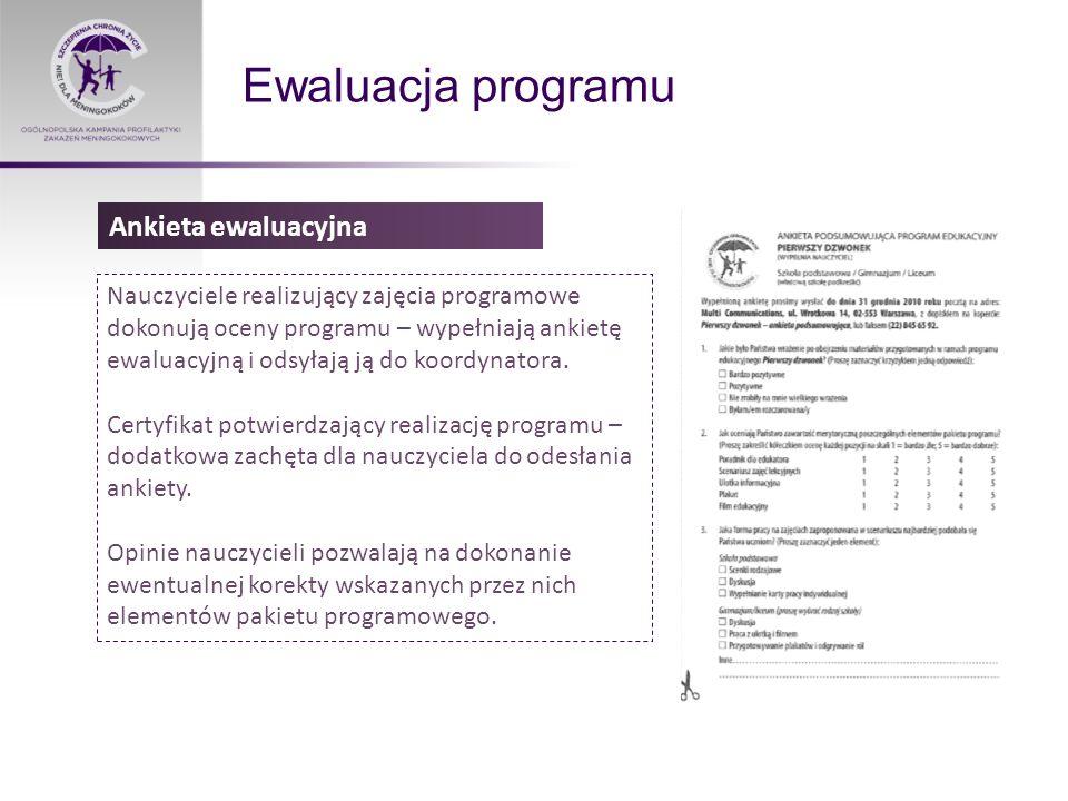 Ewaluacja programu Nauczyciele realizujący zajęcia programowe dokonują oceny programu – wypełniają ankietę ewaluacyjną i odsyłają ją do koordynatora.