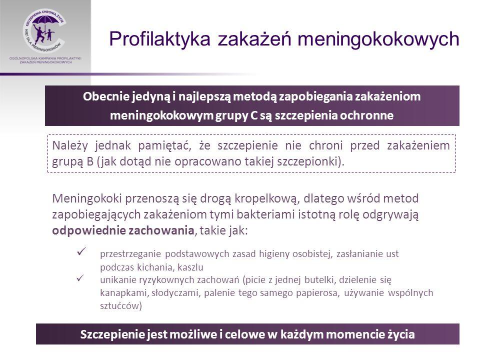 Profilaktyka zakażeń meningokokowych Należy jednak pamiętać, że szczepienie nie chroni przed zakażeniem grupą B (jak dotąd nie opracowano takiej szczepionki).
