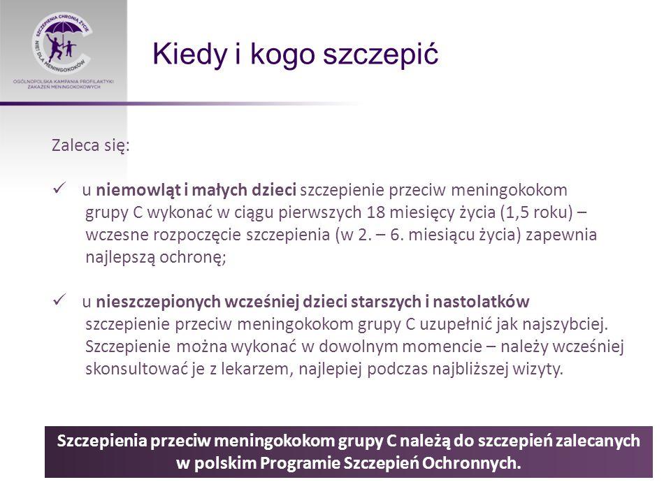 Kiedy i kogo szczepić Szczepienia przeciw meningokokom grupy C należą do szczepień zalecanych w polskim Programie Szczepień Ochronnych.