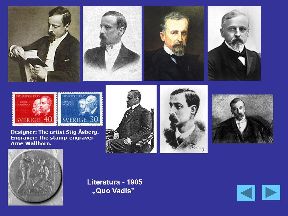 "Designer: The artist Stig Åsberg. Engraver: The stamp-engraver Arne Wallhorn. Literatura - 1905 ""Quo Vadis"""