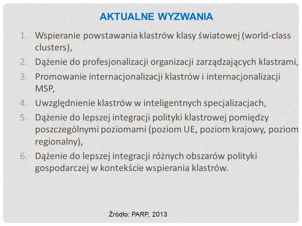 AKTUALNE WYZWANIA 1.Wspieranie powstawania klastrów klasy światowej (world-class clusters), 2.Dążenie do profesjonalizacji organizacji zarządzających