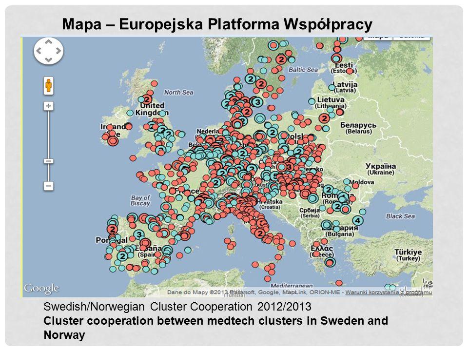 Mapa – Europejska Platforma Współpracy Swedish/Norwegian Cluster Cooperation 2012/2013 Cluster cooperation between medtech clusters in Sweden and Norw