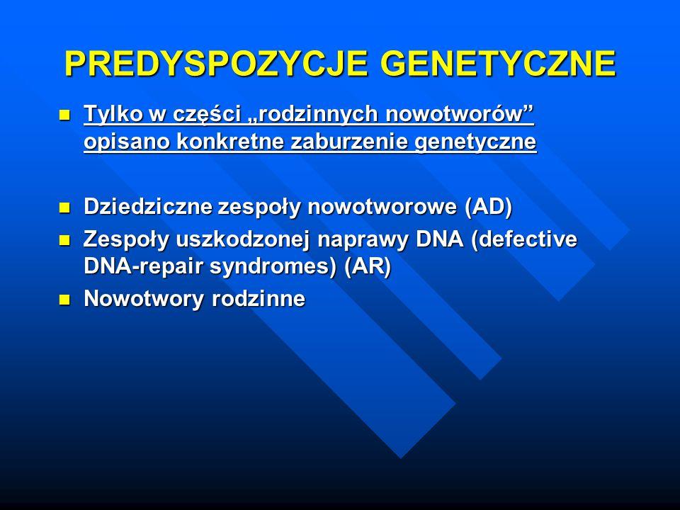 """PREDYSPOZYCJE GENETYCZNE Tylko w części """"rodzinnych nowotworów"""" opisano konkretne zaburzenie genetyczne Tylko w części """"rodzinnych nowotworów"""" opisano"""