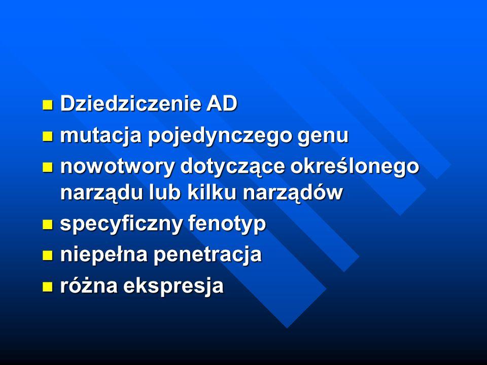Dziedziczenie AD Dziedziczenie AD mutacja pojedynczego genu mutacja pojedynczego genu nowotwory dotyczące określonego narządu lub kilku narządów nowot