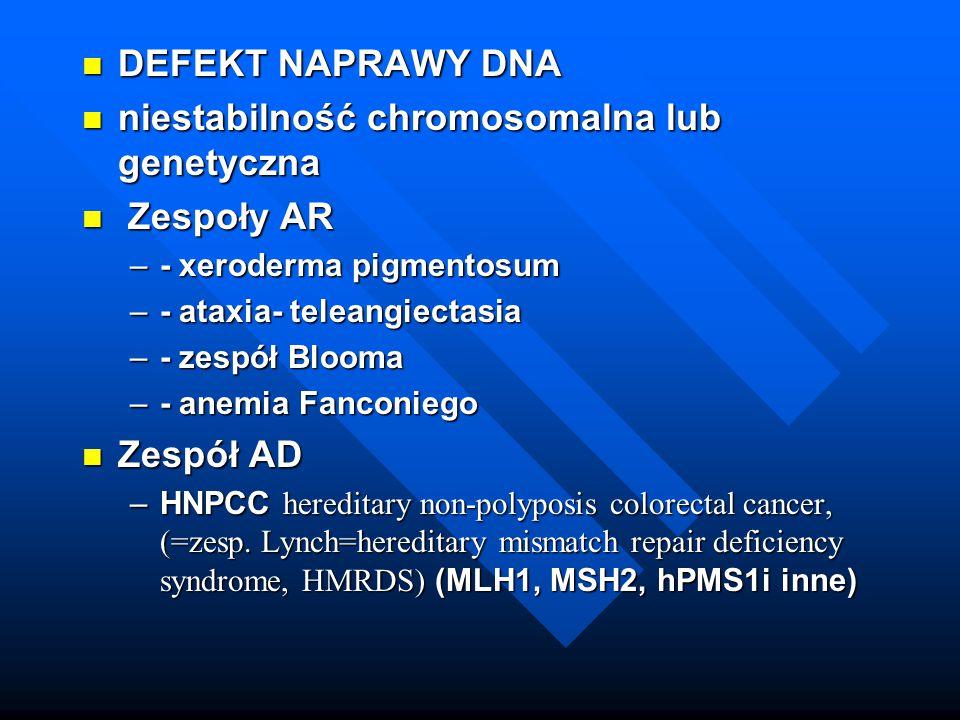 DEFEKT NAPRAWY DNA DEFEKT NAPRAWY DNA niestabilność chromosomalna lub genetyczna niestabilność chromosomalna lub genetyczna Zespoły AR Zespoły AR –- x