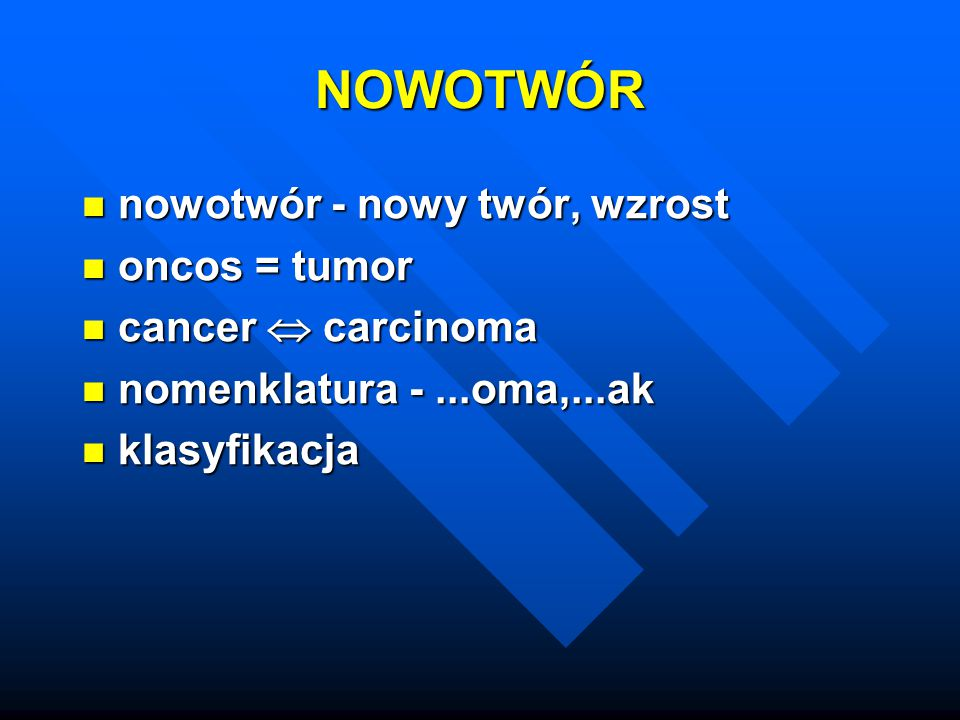 Parenchyma, stroma (naczynia, desmoplazja) Parenchyma, stroma (naczynia, desmoplazja) Nowotwory niezłośliwe (fibroma, chondroma, adenoma, papilloma, cystadenoma), polip Nowotwory niezłośliwe (fibroma, chondroma, adenoma, papilloma, cystadenoma), polip Nowotwory złośliwe (mięsak, rak) Nowotwory złośliwe (mięsak, rak) Guzy mieszane Guzy mieszane Teratoma, hamartoma, choristoma Teratoma, hamartoma, choristoma