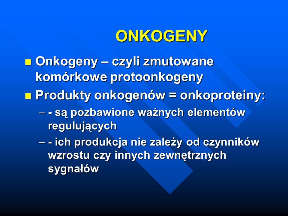 ONKOGENY Onkogeny – czyli zmutowane komórkowe protoonkogeny Onkogeny – czyli zmutowane komórkowe protoonkogeny Produkty onkogenów = onkoproteiny: Prod