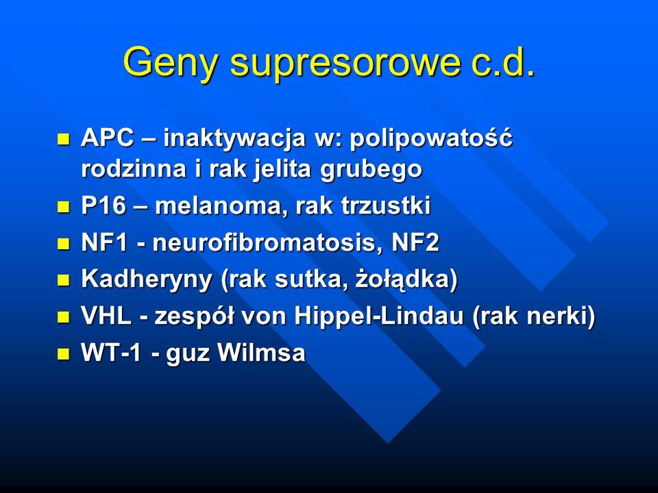 Geny supresorowe c.d. APC – inaktywacja w: polipowatość rodzinna i rak jelita grubego APC – inaktywacja w: polipowatość rodzinna i rak jelita grubego