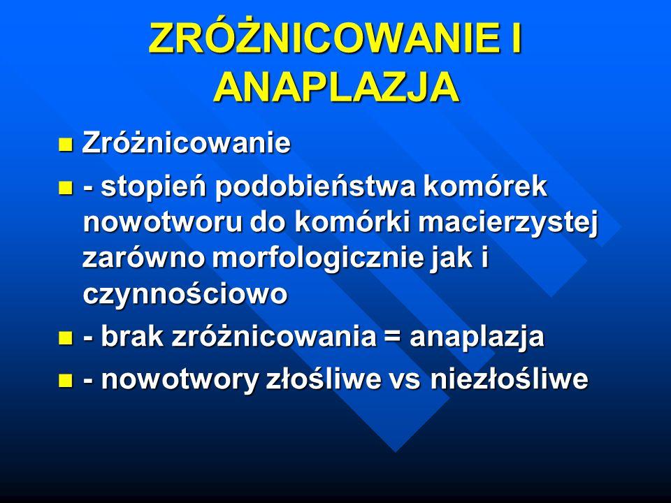 Anaplazja: pleomorfizm, hyperchromazja, N:C, mitozy, komórki olbrzymie Anaplazja: pleomorfizm, hyperchromazja, N:C, mitozy, komórki olbrzymie Dysplazja Dysplazja Rak in situ, rak wczesny Rak in situ, rak wczesny Tempo wzrostu (frakcja komórek proliferujących, apoptoza, wpływ na terapię) Tempo wzrostu (frakcja komórek proliferujących, apoptoza, wpływ na terapię)