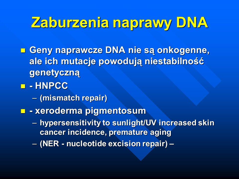 Zaburzenia naprawy DNA Geny naprawcze DNA nie są onkogenne, ale ich mutacje powodują niestabilność genetyczną Geny naprawcze DNA nie są onkogenne, ale