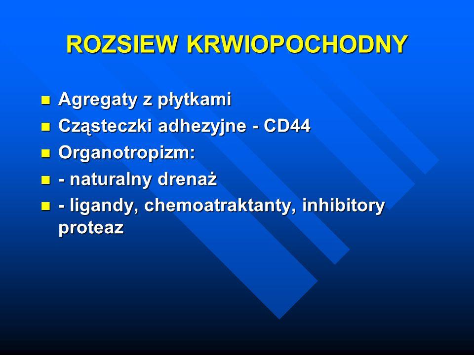 ROZSIEW KRWIOPOCHODNY Agregaty z płytkami Agregaty z płytkami Cząsteczki adhezyjne - CD44 Cząsteczki adhezyjne - CD44 Organotropizm: Organotropizm: -