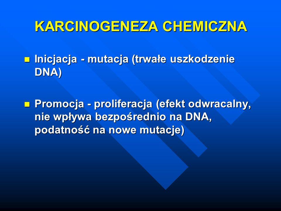 KARCINOGENEZA CHEMICZNA Inicjacja - mutacja (trwałe uszkodzenie DNA) Inicjacja - mutacja (trwałe uszkodzenie DNA) Promocja - proliferacja (efekt odwra