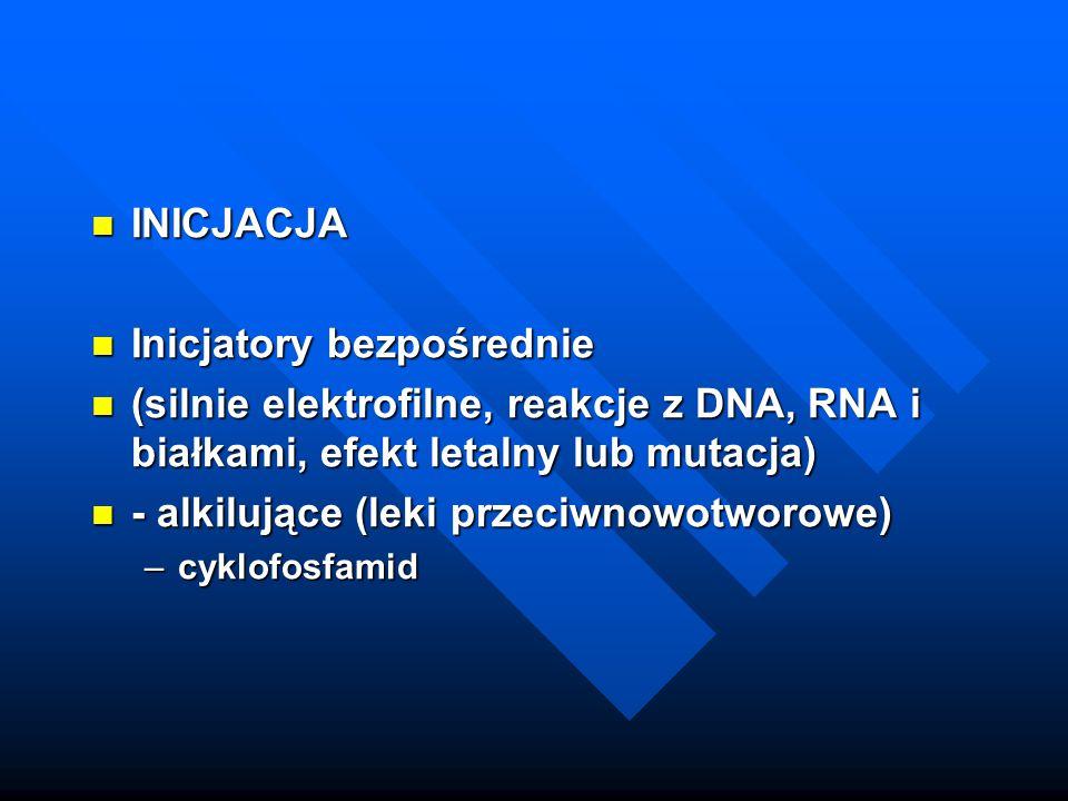 INICJACJA INICJACJA Inicjatory bezpośrednie Inicjatory bezpośrednie (silnie elektrofilne, reakcje z DNA, RNA i białkami, efekt letalny lub mutacja) (s