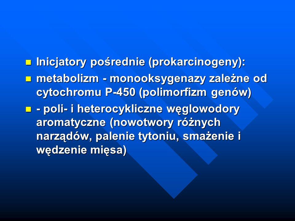 Inicjatory pośrednie (prokarcinogeny): Inicjatory pośrednie (prokarcinogeny): metabolizm - monooksygenazy zależne od cytochromu P-450 (polimorfizm gen