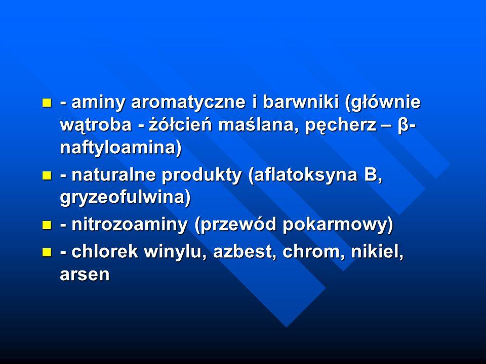 - aminy aromatyczne i barwniki (głównie wątroba - żółcień maślana, pęcherz – β- naftyloamina) - aminy aromatyczne i barwniki (głównie wątroba - żółcie