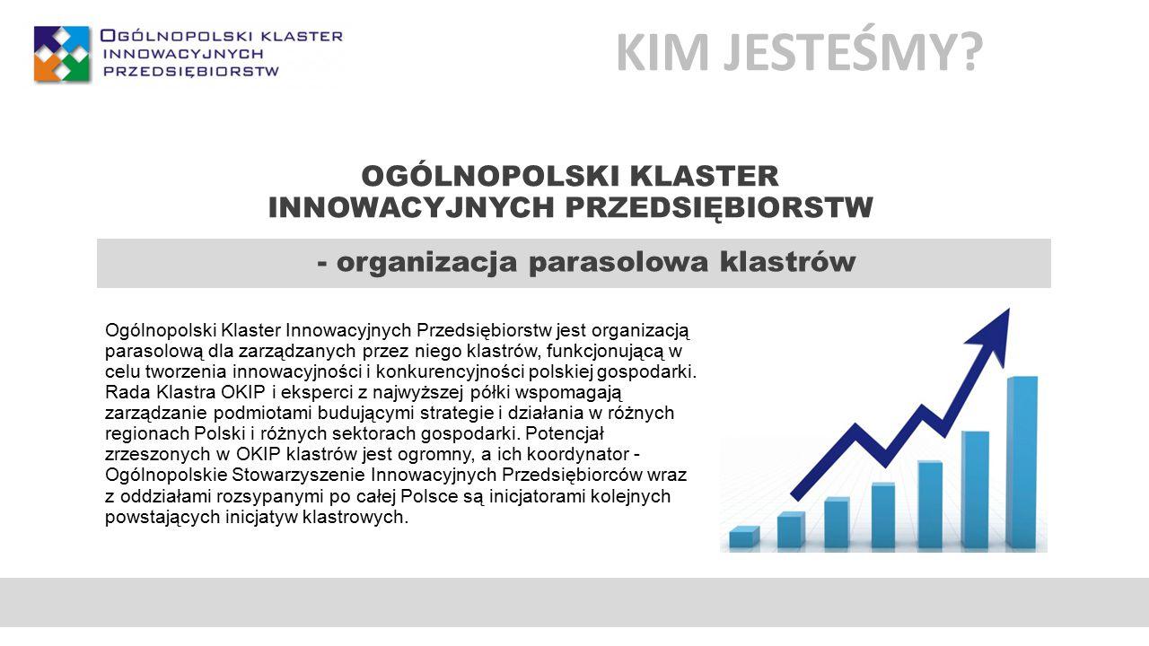INNOWACYJNOŚĆ W OKIP Reprezentowanie polskiej myśli innowacyjnej poza granicami kraju Tworzenie rozpoznawalnej markiPrestiż, zwiększanie konkurencyjności Komercjalizacja innowacyjnych technologii Rozwój nowych produktów i usług Identyfikacja trendów i potrzeb rynkowych oraz nowe wizje Tworzenie produktów w odpowiedzi na potrzeby rynku Elastyczność przy wdrażaniu nowych produktów Pozyskiwanie nowych kompetencji oraz pomysłów Analizy rynkowe Wspólne odnajdywanie najlepszych rozwiązań Szybka implementacja pomysłów